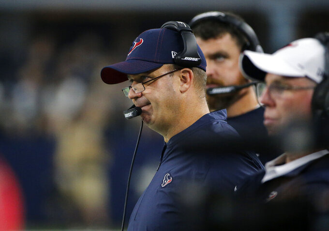 Houston Texans head coach Bill O'Brien watches play against the Dallas Cowboys in the first half of a preseason NFL football game in Arlington, Texas, Saturday, Aug. 24, 2019. (AP Photo/Michael Ainsworth)