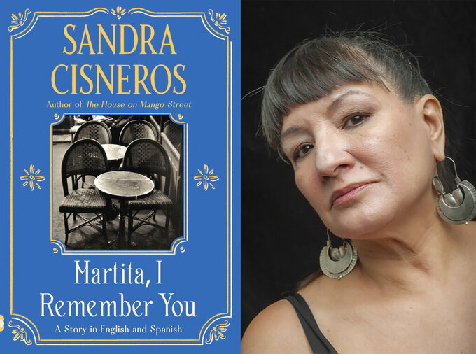 """This combination of images released by Vintage Books shows cover art for """"Martita, I Remember You,"""" left, and a portrait of author Sandra Cisneros. (Vintage Books via AP, left, and Keith Dannemiller via AP)"""