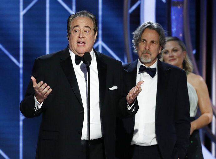 FILE - In this Jan. 6, 2019 file image released by NBC, Nick Vallelonga accepts the award for best screenplay for