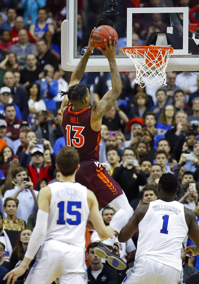 Virginia Tech guard Ahmed Hill (13) misses a layup in the final seconds against Duked inan NCAA men's college basketball tournament East Region semifinal in Washington, Friday, March 29, 2019. Duke won 75-73. (AP Photo/Alex Brandon)