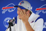 Buffalo Bills quarterback Josh Allen addresses the media during an NFL football news conference, Friday, Aug. 6, 2021, In Orchard Park N.Y. (AP Photo/ Jeffrey T. Barnes)