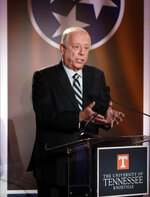 Democratic candidate and former Gov. Phil Bredesen speaks during the 2018 Tennessee U.S. Senate Debate at The University of Tennessee Wednesday, Oct. 10, 2018, in Knoxville, Tenn. (AP Photo/Mark Humphrey, Pool)