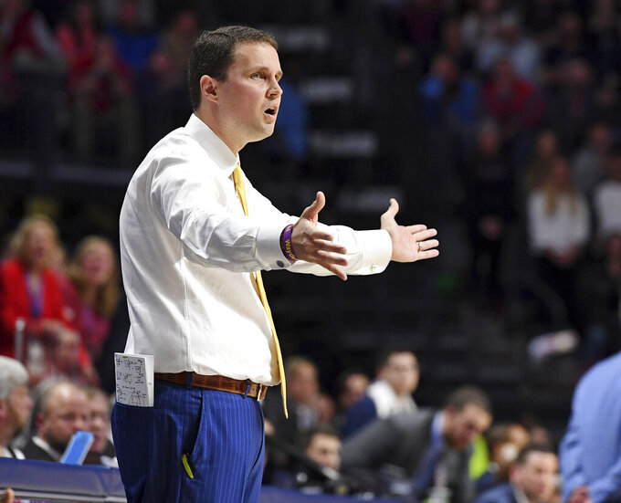 LSU coach Will Wade reacts during the first half of the team's NCAA college basketball game against Mississippi in Oxford, Miss., Tuesday, Jan. 15, 2019. (AP Photo/Thomas Graning)