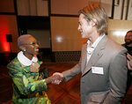 Cynthia Erivo, left, shakes hands with Brad Pitt at the 92nd Academy Awards Nominees Luncheon at the Loews Hotel on Monday, Jan. 27, 2020, in Los Angeles. (Photo by Danny Moloshok/Invision/AP)