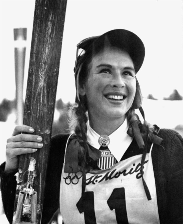 FILE - In this Feb. 4, 1948 file photo Olympic gold medalist Gretchen Fraser, of Vancouver, Wa., smiles, after placing second in the Women's Alpine combined ski test in St. Moritz, Switzerland. Idaho Gov. Brad Little has responded to President Donald Trump's call for a
