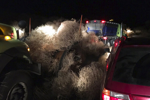 In this image taken Tuesday evening, Dec. 31, 2019, and provided by the Washington State Patrol, Washington State Department of Transportation using snow plows to remove a pile of tumbleweeds along State Route 240 near Richland, Wash. (Trooper Chris Thorson/Washington State Patrol viaAP)