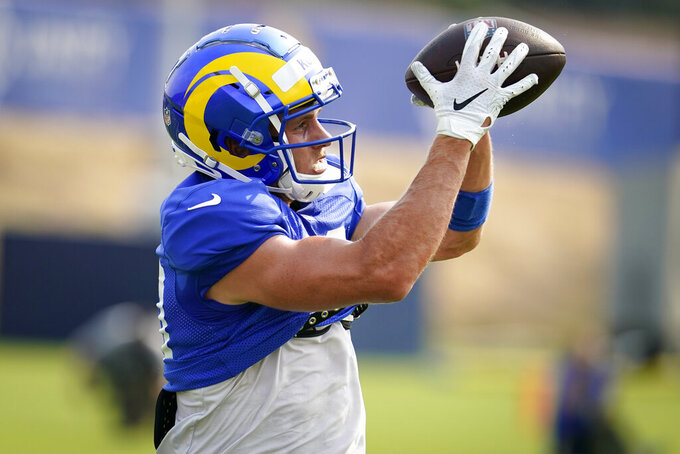 Los Angeles Rams wide receiver Cooper Kupp makes catch during NFL football training camp Tuesday, Aug. 18, 2020, in Thousand Oaks, Calif. (AP Photo/Marcio Jose Sanchez)