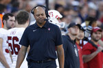 Stanford head coach David Shaw looks on in the second half of an NCAA college football game against Colorado, Saturday, Nov. 9, 2019, in Boulder, Colo. Colorado won 16-13. (AP Photo/David Zalubowski)