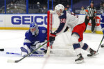 Columbus Blue Jackets' Eric Robinson (50) scores past Tampa Bay Lightning goaltender Andrei Vasilevskiy, of Russia, during the first period of an NHL hockey game Sunday, April 25, 2021, in Tampa, Fla. (AP Photo/Mike Carlson)