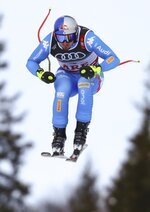 Italy's Dominik Paris speeds down the course during the men's super-G at the alpine ski World Championships in Are, Sweden, Wednesday, Feb. 6, 2019. (AP Photo/Alessandro Trovati)