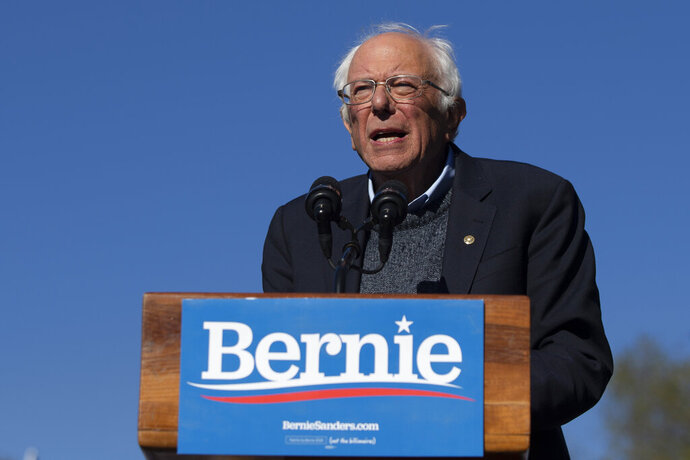 FILE - In this Oct. 19, 2019 file photo, Democratic presidential candidate Sen. Bernie Sanders, I-Vt., speaks to supporters during a rally in New York. A federal appeals court gave the green light Tuesday, May 19, 2020 to New York state's June 23 Democratic presidential primary.  The 2nd U.S. Circuit Court of Appeals agreed with a lower court judge who ruled two weeks ago that the primary must include the contest over the state's objections. (AP Photo/Eduardo Munoz Alvarez)