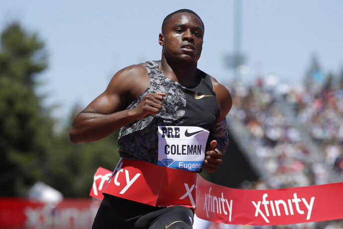 """FILE - In this June 30, 2019, file photo, United States' Christian Coleman wins the men's 100-meter race at the Prefontaine Classic IAAF Diamond League athletics meet in Stanford, Calif. Olympic gold-medal sprint contender Christian Coleman could be subject to an anti-doping sanction for missing drug tests, The Associated Press has learned. Two people familiar with Coleman's case told AP the sprinter faces a case involving three """"whereabouts failures"""" over a 12-month period, which can be treated as a positive test. The people did not want their names used because cases are considered confidential. (AP Photo/Jeff Chiu, File)"""