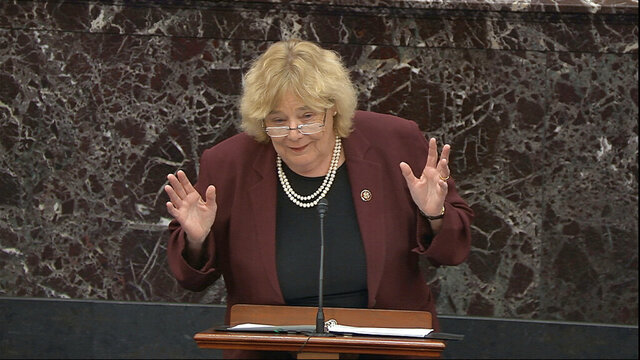 In this image from video, House impeachment manager Rep. Zoe Lofgren, D-Calif., speaks during the impeachment trial against President Donald Trump in the Senate at the U.S. Capitol in Washington, Friday, Jan. 24, 2020. (Senate Television via AP)