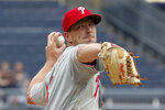 Philadelphia Phillies starting pitcher Drew Smyly throws against the Pittsburgh Pirates during the first inning of a baseball game, Sunday, July 21, 2019, in Pittsburgh. (AP Photo/Keith Srakocic)
