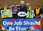 FILE - In this Thursday, April 18, 2019, file photo, former Vice President Joe Biden speaks at a rally in support of striking Stop & Shop workers in Boston. Stop & Shop supermarket workers and company officials said Sunday, April 21 they've reached a tentative contract agreement. (AP Photo/Michael Dwyer, File)