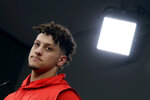 Kansas City Chiefs quarterback Patrick Mahomes addresses the media at a news conference Wednesday, Jan. 22, 2020 at Arrowhead Stadium in Kansas City, Mo. The Chiefs will face the San Francisco 49ers in Super Bowl 54. (AP Photo/Charlie Riedel)