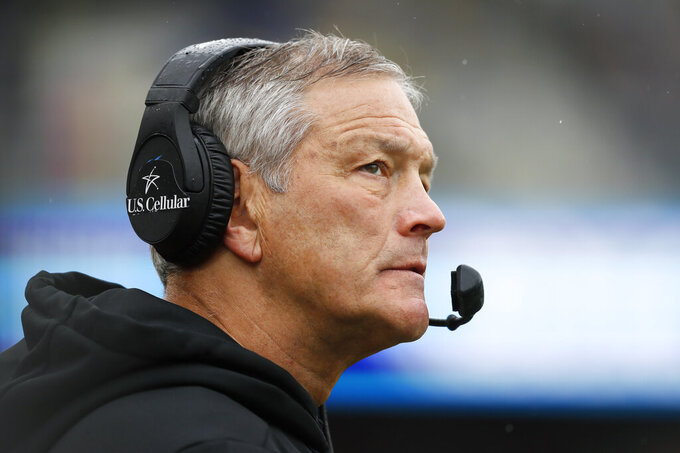 Iowa head coach Kirk Ferentz watches from the sideline during the second half of an NCAA college football game against Purdue, Saturday, Oct. 19, 2019, in Iowa City, Iowa. Iowa won 26-20. (AP Photo/Charlie Neibergall)