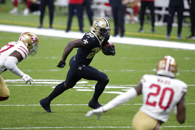 New Orleans Saints running back Latavius Murray (28) carries near the gaol line in the second half of an NFL football game against the San Francisco 49ers in New Orleans, Sunday, Nov. 15, 2020. (AP Photo/Butch Dill)