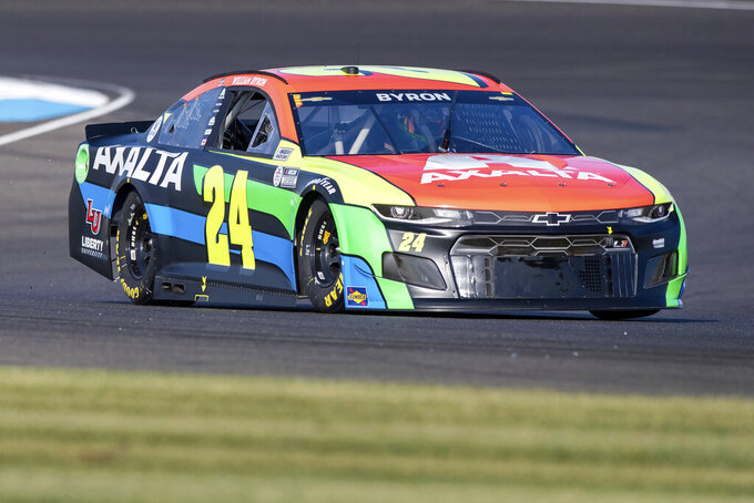 William Byron (24) during qualifying for a NASCAR Cup Series auto race at Indianapolis Motor Speedway, Sunday, Aug. 15, 2021, in Indianapolis. (AP Photo/Doug McSchooler)
