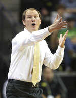Oregon head basketball coach Dana Altman calls to his team during an NCAA college basketball game against Texas-Arlington in Eugene, Ore., Sunday, Nov. 17, 2019. (AP Photo/Chris Pietsch)