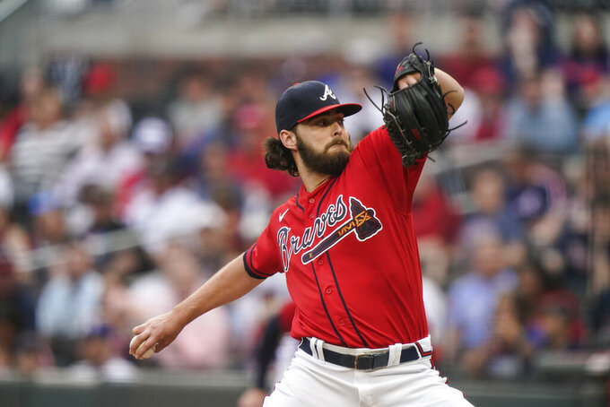 Atlanta Braves starting pitcher Ian Anderson delivers against the Los Angeles Dodgers in the first inning of a baseball game Friday, June 4, 2021, in Atlanta. (AP Photo/Brynn Anderson)