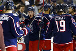 Columbus Blue Jackets' Matt Duchene celebrates the team's win over the Tampa Bay Lightning in Game 4 of an NHL hockey first-round playoff series, Tuesday, April 16, 2019, in Columbus, Ohio. The Blue Jackets beat the Lightning 7-3. (AP Photo/Jay LaPrete)