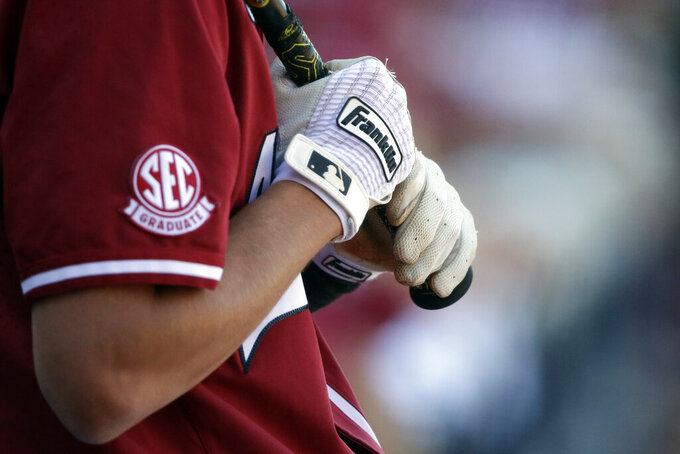 Arkansas' Jacob Nesbit (5) prepares to bat against Tennessee in the ninth inning of an NCAA college baseball championship game during the Southeastern Conference tournament Sunday, May 30, 2021, in Hoover, Ala. (AP Photo/Butch Dill)