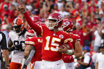 Kansas City Chiefs quarterback Patrick Mahomes celebrates after the final whistle in an NFL football game against the Cleveland Browns Sunday, Sept. 12, 2021, in Kansas City, Mo. (AP Photo/Ed Zurga)
