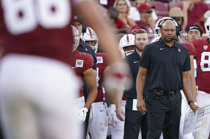 Stanford head coach David Shaw watches his offense from the sideline during the second half of an NCAA college football game against Oregon, Saturday, Sept. 21, 2019, in Stanford, Calif. (AP Photo/Tony Avelar)