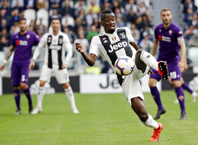 FILE - In this April 20, 2019, file photo, Juventus' Blaise Matuidi controls the ball during a Serie A soccer match between Juventus and AC Fiorentina, at the Allianz stadium in Turin, Italy. Midfielder Blaise Matuidi, a 2018 World Cup champion for France, signed with Inter Miami and will be reunited with team co-owner David Beckham. (AP Photo/Luca Bruno, File)