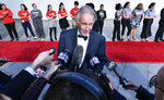 Sen. Ed Markey, D-Mass., speaks to reporters before a ceremony where, arrives for a ceremony where, Speaker of the House Nancy Pelosi, D-Calif., receives the 2019 John F. Kennedy Profile in Courage Award during ceremonies at the John F. Kennedy Presidential Library and Museum, Sunday, May 19, 2019, in Boston. (AP Photo/Josh Reynolds)