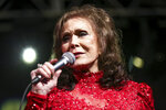 FILE - In this March 17, 2016, file photo, Loretta Lynn performs at the BBC Music Showcase at Stubb's during South By Southwest in Austin, Texas. Lynn will be recognized as an artist of a lifetime at the CMT Artists of the Year show on Oct. 17. (Photo by Rich Fury/Invision/AP, File)