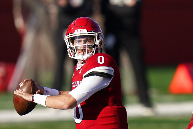 Rutgers quarterback Noah Vedral (0) looks to pass in the first quarter of an NCAA college football game against Indiana, Saturday, Oct. 31, 2020, in Piscataway, N.J. (AP Photo/Corey Sipkin)