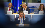 European Commissioner designate for Inter-institutional Relations and Foresight Maros Sefcovic, center front, answers questions during his hearing at the European Parliament in Brussels, Monday, Sept. 30, 2019. (AP Photo/Virginia Mayo)