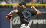 Miami Marlins starter Sandy Alcantara pitches against the Tampa Bay Rays during the first inning of a baseball game Saturday, Sept. 25, 2021, in St. Petersburg, Fla. (AP Photo/Steve Nesius)