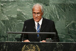 FILE - In this Sept. 26, 2015, file photo, Tongan Prime Minister 'Akilisi Pohiva addresses the 2015 Sustainable Development Summit at the United Nations headquarters. Hundreds of mourners have packed a church service and children stood vigil as Tonga took a national holiday to bid farewell to Prime Minister 'Akilisi Pohiva at a state funeral. (AP Photo/Frank Franklin II, File)