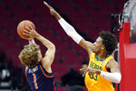 Tennessee-Martin guard Parker Stewart (1) puts up a shot as Baylor forward Freddie Gillespie (33) defends during the first half of an NCAA college basketball game Wednesday, Dec. 18, 2019, in Houston. (AP Photo/Michael Wyke)