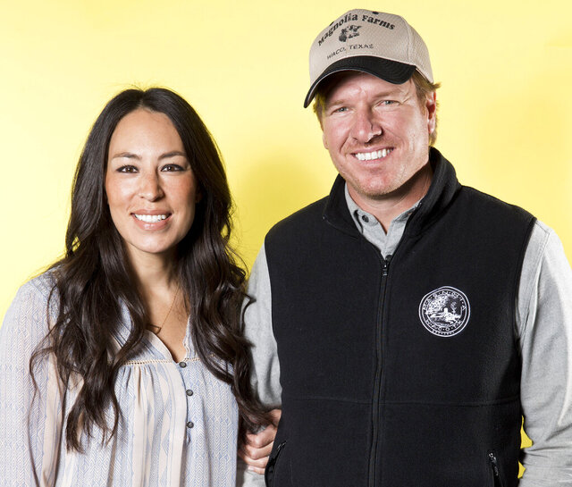 FILE - In this March 29, 2016, photo, Joanna Gaines, left, and Chip Gaines pose for a portrait in New York to promote their home improvement show,