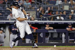 New York Yankees' Giancarlo Stanton loses the grip on his bat as he grounds out during the fifth inning of the team's baseball game against the Boston Red Sox on Sunday, July 18, 2021, in New York. (AP Photo/Adam Hunger)
