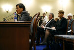 University of Maryland president Wallace Loh speaks at a House of Delegates appropriations committee hearing, Thursday, Nov. 15, 2018, in Annapolis, Md. Seated behind Loh are University System of Maryland chancellor Robert Caret, second from right, and Board of Regents chair Linda Gooden. The hearing was called to examine how the university and Board of Regents responded to the death of football player Jordan McNair. (AP Photo/Patrick Semansky)