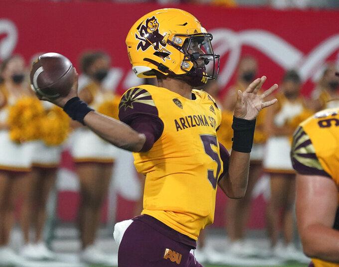 Arizona State quarterback Jayden Daniels (5) throws against Colorado during the second half of an NCAA college football game Saturday, Sept. 25, 2021, in Tempe, Ariz. (AP Photo/Darryl Webb)