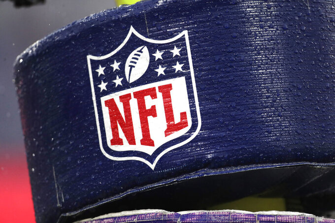 FILE - In this Dec. 1, 2019, file photo, rain drops are seen on the NFL logo on padding of a goal post at an NFL stadium. An NFL and players union-run fund that helps ailing retired players shut down its application process for nearly six months because of the coronavirus. That has irritated retirees who complained the league devoted resources toward safely starting the 2020 season on time but not to their medical needs. (AP Photo/Julio Cortez, File)