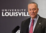 Senate Minority Leader Charles Schumer, D-N.Y., answers a question from the audience during the McConnell Center's Distinguished Speaker Series Monday, Feb. 12, 2018, on the University of Louisville campus in Louisville, Ky. (AP Photo/Timothy D. Easley)
