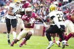 Florida State running back Khalan Laborn cuts back against Alabama State defensive back Irshaad Davis in the first half of an NCAA college football game in Tallahassee, Fla., Saturday, Nov. 16, 2019. (AP Photo/Mark Wallheiser)