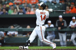 Baltimore Orioles' Rio Ruiz follows through on a two-run home run against the Boston Red Sox during the first inning of a baseball game Tuesday, May 7, 2019, in Baltimore. (AP Photo/Gail Burton)