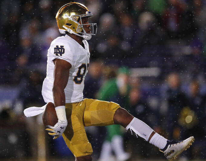 Notre Dame's Michael Young celebrates a touchdown against Northwestern during the second half of an NCAA college football game Saturday, Nov. 3, 2018, in Evanston, Ill. (AP Photo/Jim Young)