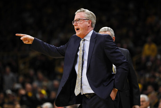 Iowa head coach Fran McCaffery reacts to a call against his team during the first half of an NCAA college basketball game against Purdue, Tuesday, March 3, 2020, in Iowa City, Iowa. (AP Photo/Charlie Neibergall)