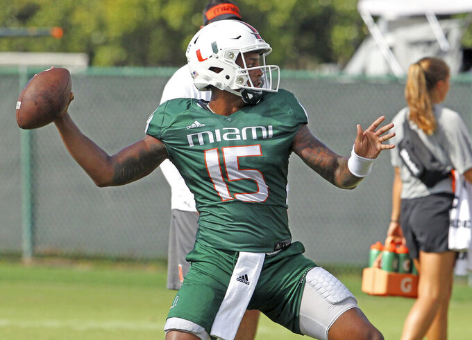 Miami Hurricanes quarterback Jarren Williams (15) throws during practice at the University of Miami Greentree Practice Field in Coral Gables on Wednesday, September Miami Hurricanes quarterback Jarren Williams (15) throws during practice at the University of Miami Greentree Practice Field in Coral Gables on Wednesday, September 11, 2019 in preparation for their home opener against Bethune-Cookman Wildcats on Saturday at Hard Rock Stadium.(David Santiago/Miami Herald via AP)