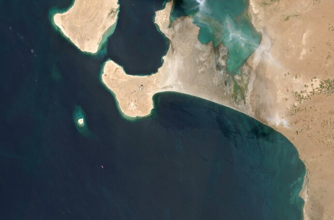 This satellite image provided by Manar Technologies taken June 14, 2020, shows the FSO Safer tanker moored off Ras Issa port, in Yemen. Houthi rebels are blocking the United Nations from inspecting an abandoned oil tanker moored off the coast of Yemen loaded with more than one million barrels of crude oil. UN officials and experts fear the tanker could explode or leak, causing massive environmental damage to Red Sea marine life. (Maxar Technologies via AP)