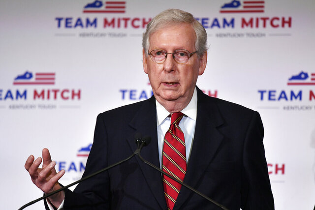 Senate Majority Leader Mitch McConnell, R-Ky., speaks with reporters during a press conference in Louisville, Ky., Wednesday, Nov. 4, 2020. McConnell secured a seventh term in Kentucky, fending off Democrat Amy McGrath, a former fighter pilot in a costly campaign. (AP Photo/Timothy D. Easley)